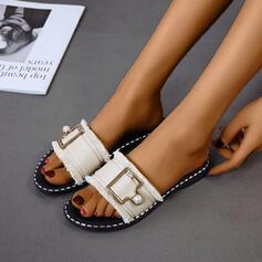 Frauen PU Flascher Absatz Sandalen Peep Toe Pantoffel mit Nachahmungen von Perlen Schuhe