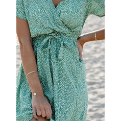 Print Short Sleeves A-line Above Knee Casual/Vacation Wrap/Skater Dresses