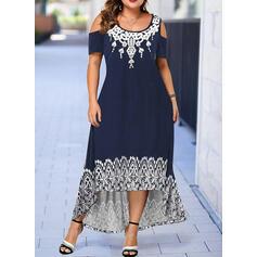 Print Short Sleeves A-line Asymmetrical Casual/Plus Size Dresses