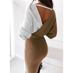 Color Block/Chunky knit Long Sleeves Bodycon Knee Length Casual/Long/Tight Dresses
