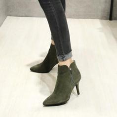 Donna Camoscio Tacco a spillo Stiletto Punta chiusa Stivali alla caviglia con Cerniera Nappa scarpe