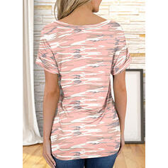 Impresión Cuello en V Manga Corta Camisetas