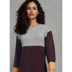 Color Block Cable-knit Round Neck Casual Long Sweater Dress