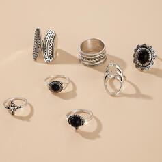 Boho Round Alloy With Diamond Rings 7 PCS