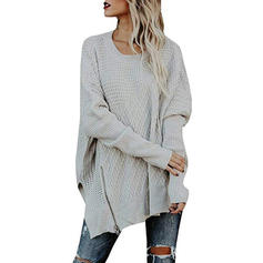 Couleur unie Gros tricot Off the Shoulder Robe Pull
