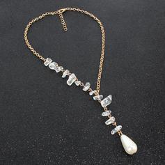 Único Luminoso Aleación con Perlas de imitación Imitaciones de piedras Collares