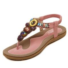 Femmes Similicuir Talon plat Sandales avec Brodé chaussures