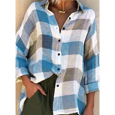 Распечатать отворот Длинные рукова Кнопка вверх Повседневная Рубашка Блузки