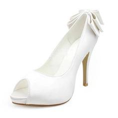 Frauen Satiniert Kegel Absatz Peep Toe Plateauschuh Sandalen mit Flakem