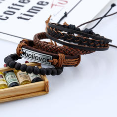 Letter Alloy Leather Rope Unisex Bracelets (Set of 4)