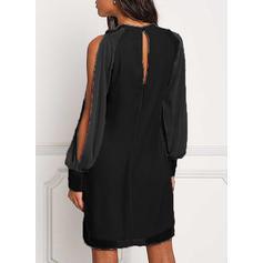 Couleur Unie Épaule Froide Droite Au-dessus Du Genou Petites Robes Noires/Décontractée/Fête Robes