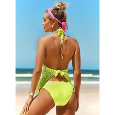 Solid Color Halter V-Neck Sexy Plus Size Tankinis Swimsuits
