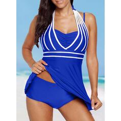 Solid Color Halter Sports Vintage Plus Size Swimdresses Swimsuits