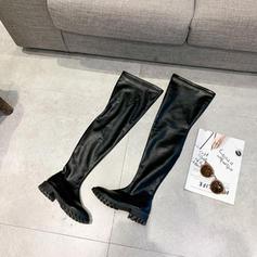 Dámské PU Nízký podpatek Boty Kozačky nad kolena obuv