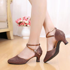 Women's Ballroom Swing Heels Sandals Leatherette With Bowknot Sequin Latin