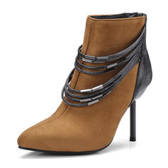 Women's Suede Stiletto Heel Ankle Boots With Zipper shoes