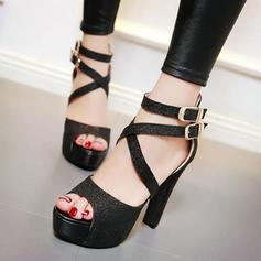 Ігристі блискітки Шпилька Сандалі Платформа взуття на короткій шпильці взуття