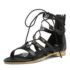 Women's Leatherette Low Heel Sandals Peep Toe With Lace-up shoes