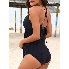 Solid Color Halter U-Neck Elegant Beautiful Tankinis Swimsuits