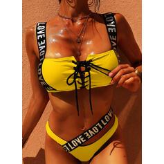 Color Sólido Neón Correa Elegante Bikinis Trajes de baño