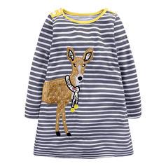 Girls Round Neck Striped Animal Casual Cute Dress