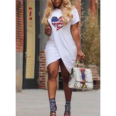 Nadrukowana/Serce Krótkie rękawy Bodycon Asymetryczna Casual T-shirt Sukienki