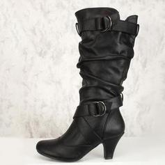 Vrouwen Kunstleer Chunky Heel Pumps Laarzen met Rits schoenen