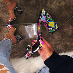 Bayanlar PVC Tıknaz Topuk Sandalet Peep Toe Terlik ayakkabı