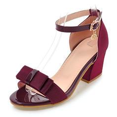 Femmes Tissu Talon bottier Sandales Escarpins À bout ouvert avec Strass Bowknot chaussures