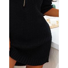 Sólido Malha Quadriculada Decote em V Casual Suéteres