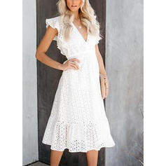 Lace Short Sleeves A-line Casual/Vacation Midi Dresses