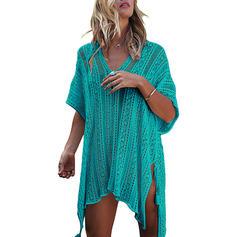 Solid Color V-neck Elegant Cover-ups Swimsuits