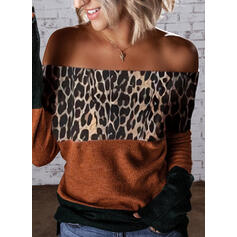 Color Block Leopard Off the Shoulder Casual Sweaters