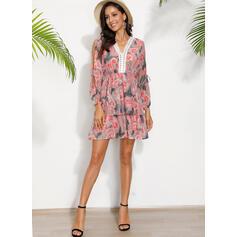 Print Long Sleeves/Cold Shoulder Sleeve A-line Above Knee Casual Skater Dresses