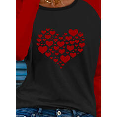 Trozos de color Corazón Impresión Cuello Redondo Manga Larga Camisetas