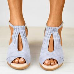 Women's Suede Wedge Heel Sandals Wedges Peep Toe Heels With Buckle shoes