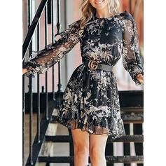 Print/Floral Long Sleeves A-line Above Knee Casual/Elegant Dresses
