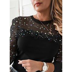Pevný Sequins Kulatý Výstřih Dlouhé rukávy Puff Sleeve Elegant Bluze