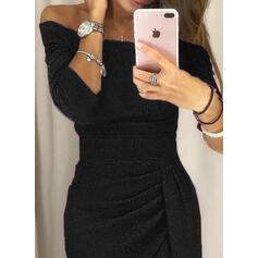 Solid 3/4 Sleeves Sheath Sexy/Party Midi Dresses