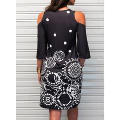 Print 3/4 Sleeves Sheath Above Knee Casual Dresses