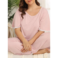 Gola Redonda Manga Curta Cor sólida Tamanho positivo Attractive Conjuntos de pijamas