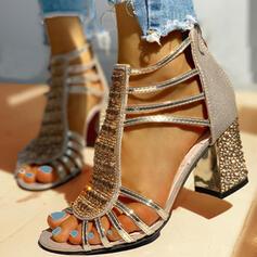 Mulheres PU Salto robusto Sandálias Bombas Peep toe Saltos com Strass Lantejoulas Zíper sapatos