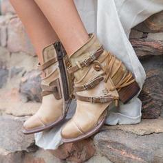 Femmes PU Talon bottier Escarpins Bottes Bottes mi-mollets avec Boucle chaussures