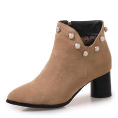 Femmes Suède Talon bottier Bottes Bottines avec Rivet chaussures