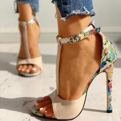 Женский ткань Стилет каблук Насосы Peep Toe с Рисунок животного обувь
