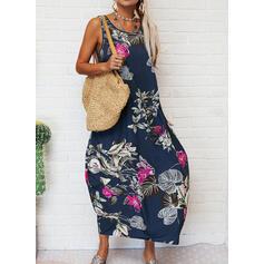 Impresión/Floral Sin mangas Tendencia Tanque Casual/Vacaciones Maxi Vestidos