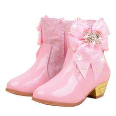 Flicka Stängt Toe Microfiber läder låg klack Stövlar Flower Girl Shoes med Bowknot Kristall