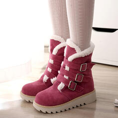 Women's Suede Flat Heel Boots Mid-Calf Boots Snow Boots Round Toe Winter Boots With Buckle Solid Color shoes