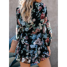 Print/Floral Long Sleeves/Lantern Sleeve A-line Above Knee Casual Skater Dresses