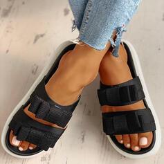 Жіночі ПУ Низька підошва Сандалі взуття на короткій шпильці Тапочки з Бант взуття